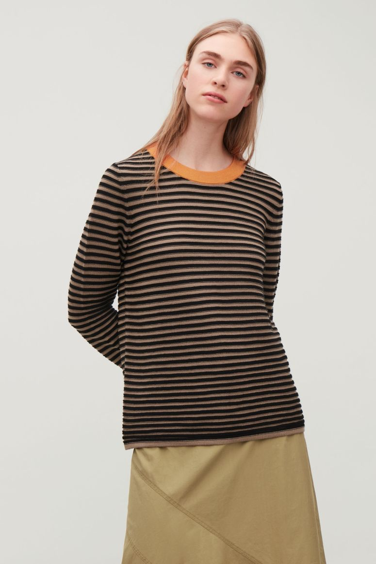 Cos fine knit striped brown top £55