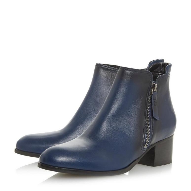 Dune Pericle - Navy Side Zip Stacked Heel Ankle Boot £120