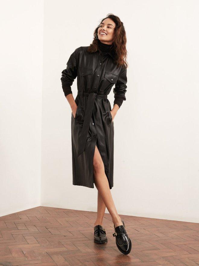 Jaqueline_Vegan_Leather_Shirt_Dress_Front_