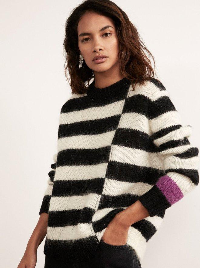 Kitri Karla Black Mohair Striped Jumper £125