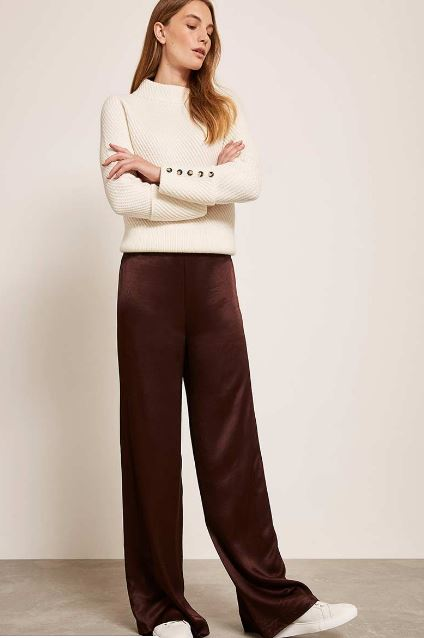 Mint Velvet Chocolate Satin Wide Trousers £89