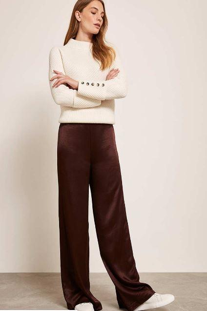 Mint Velvet Chocolate Satin Wide Trousers £89