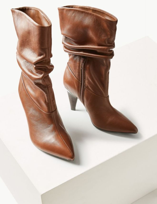 M&S Leather Side Zip Mid Calf boots £79