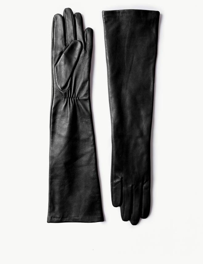 M&S Long black leather gloves £55