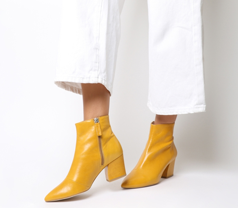 Office Aubergine Curved Heel Ankle Boots Mustard Leather £89