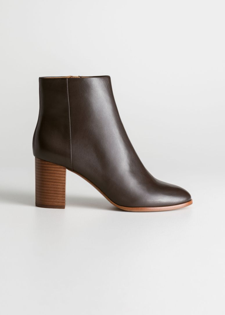 & Other Stories O-ring zipper dark brown leather boots £129