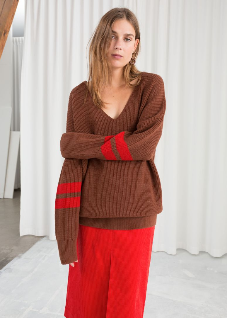 & Other Stories Stripe Sleeve Sweater £59