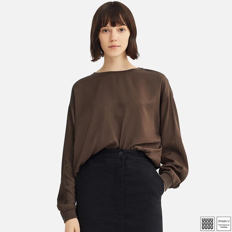 Uniqlo drapey twill long sleeve blouse £24.99
