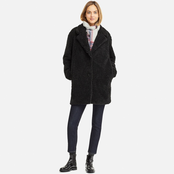 Uniqlo Fleece lined long sleeve tailored coat £34.90