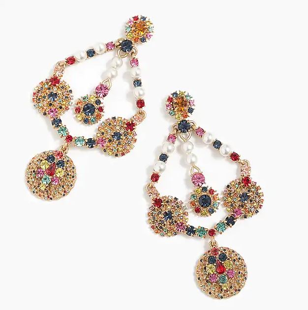 J Crew Crystal & Pearl chandelier earrings £65