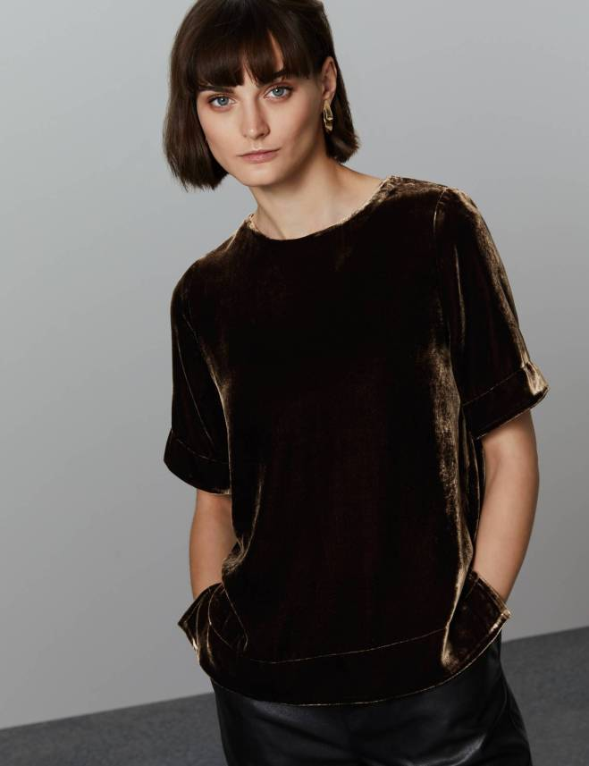 M&S Half Sleeve Velvet Shell Top £49.50