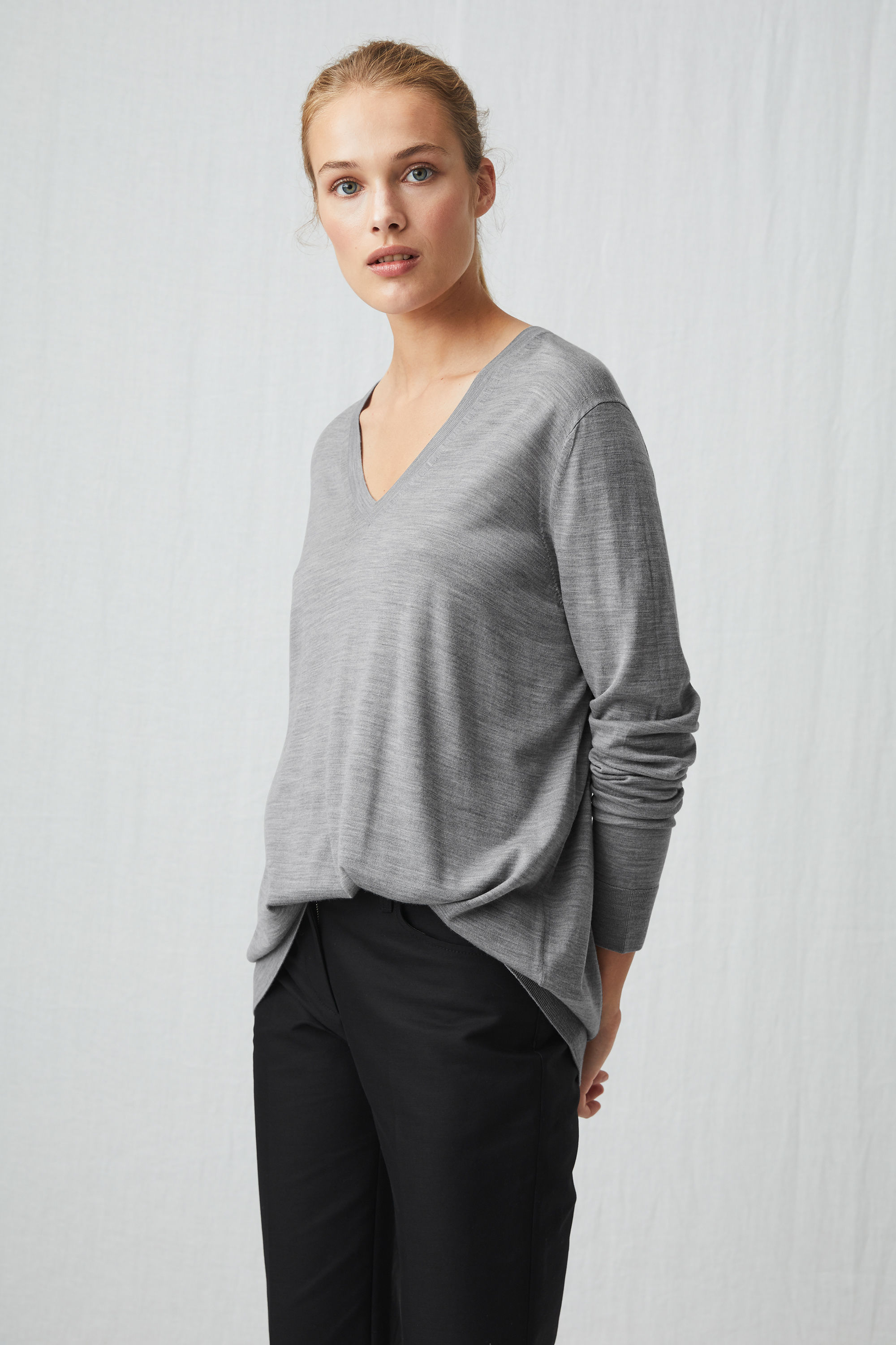 arket merino relaxed v-neck jumper £28, was £55