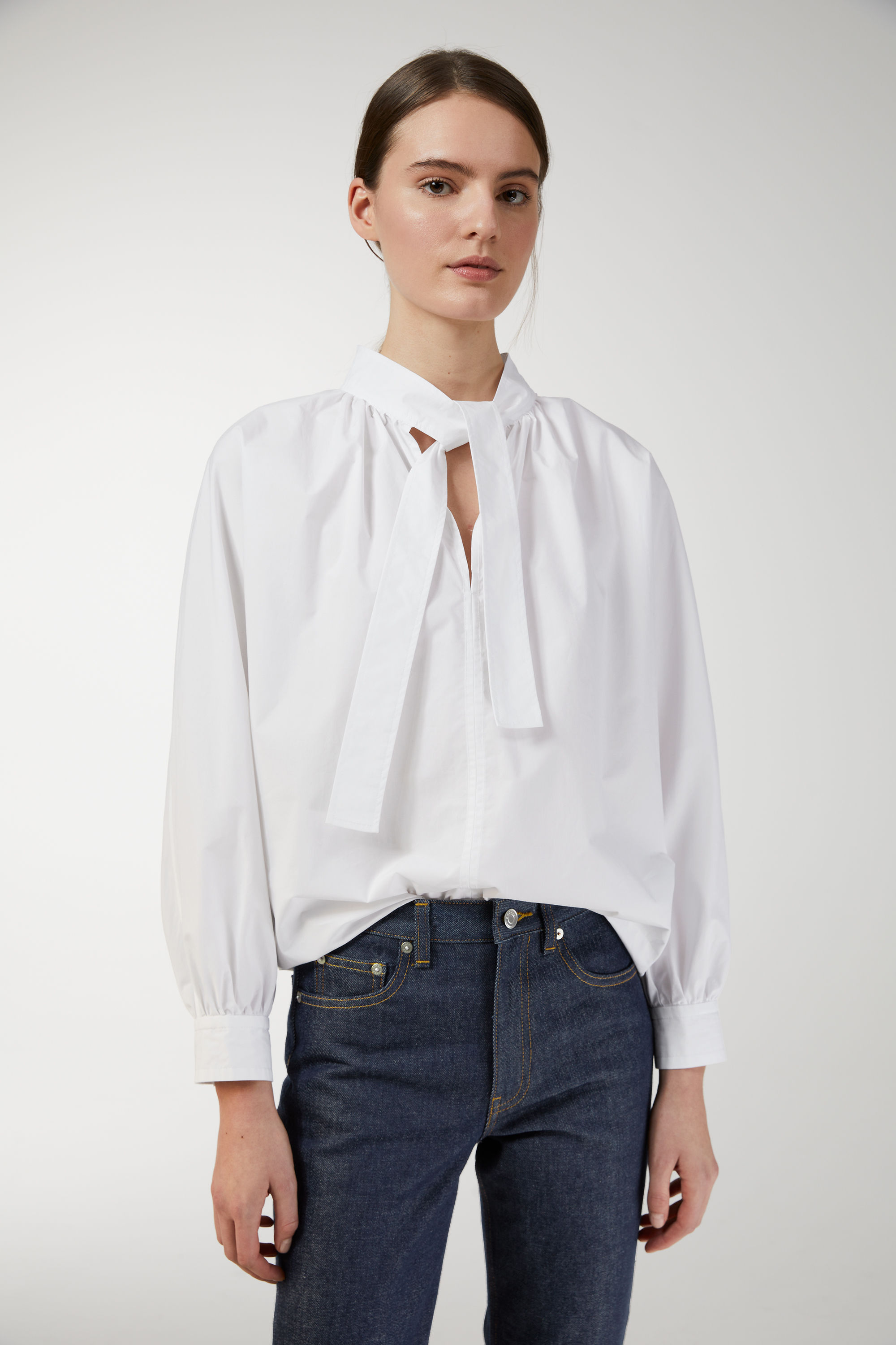 arket poplin tie-neck blouse £30, was £59