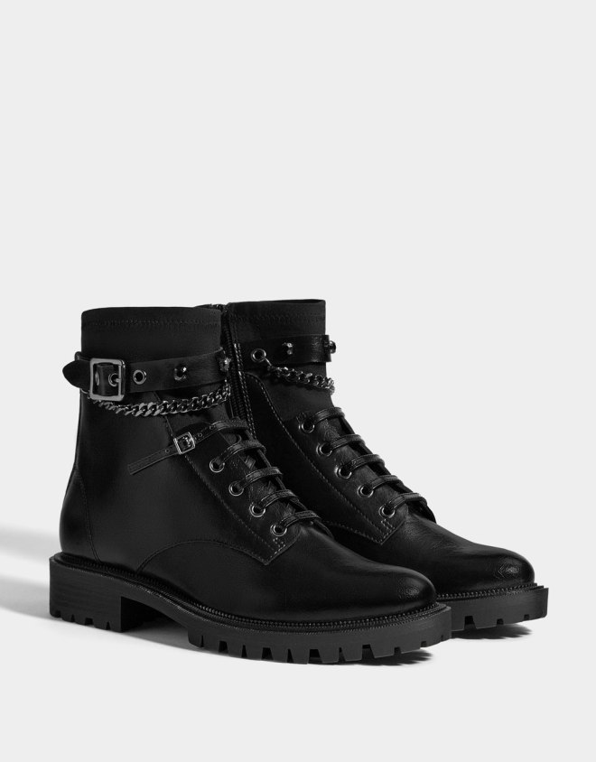 bershka black ankle boots with chains £49.99