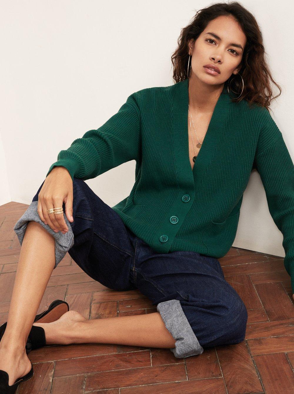 kitri sana-green-v-neck-cardigan-front_£50, was £85