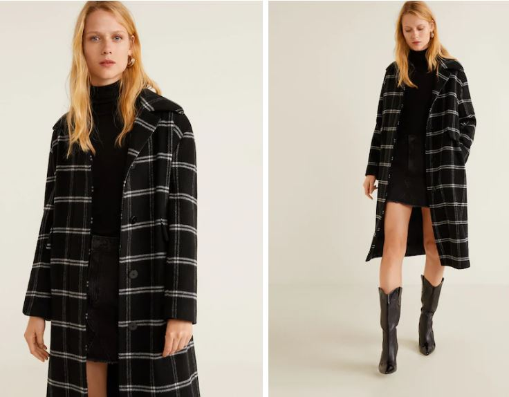 mango checkered wool-blend coat £69.99, was £199.99