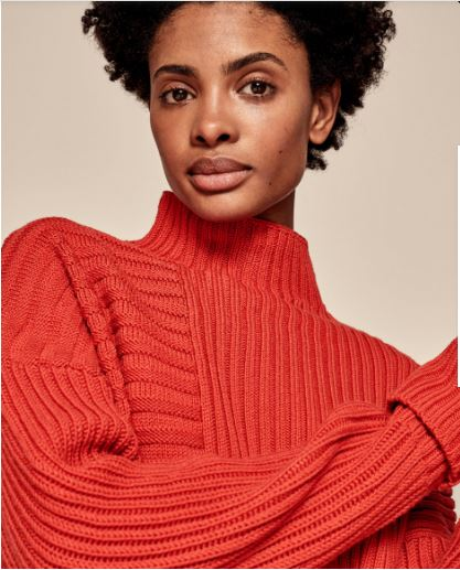 me+em funnel neck wool rib jumper in Burnt Orange £59, was £199
