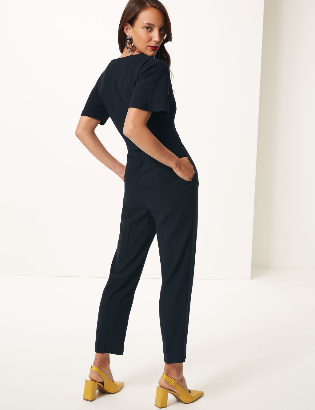 m&s short sleeve jumpsuit navy £45