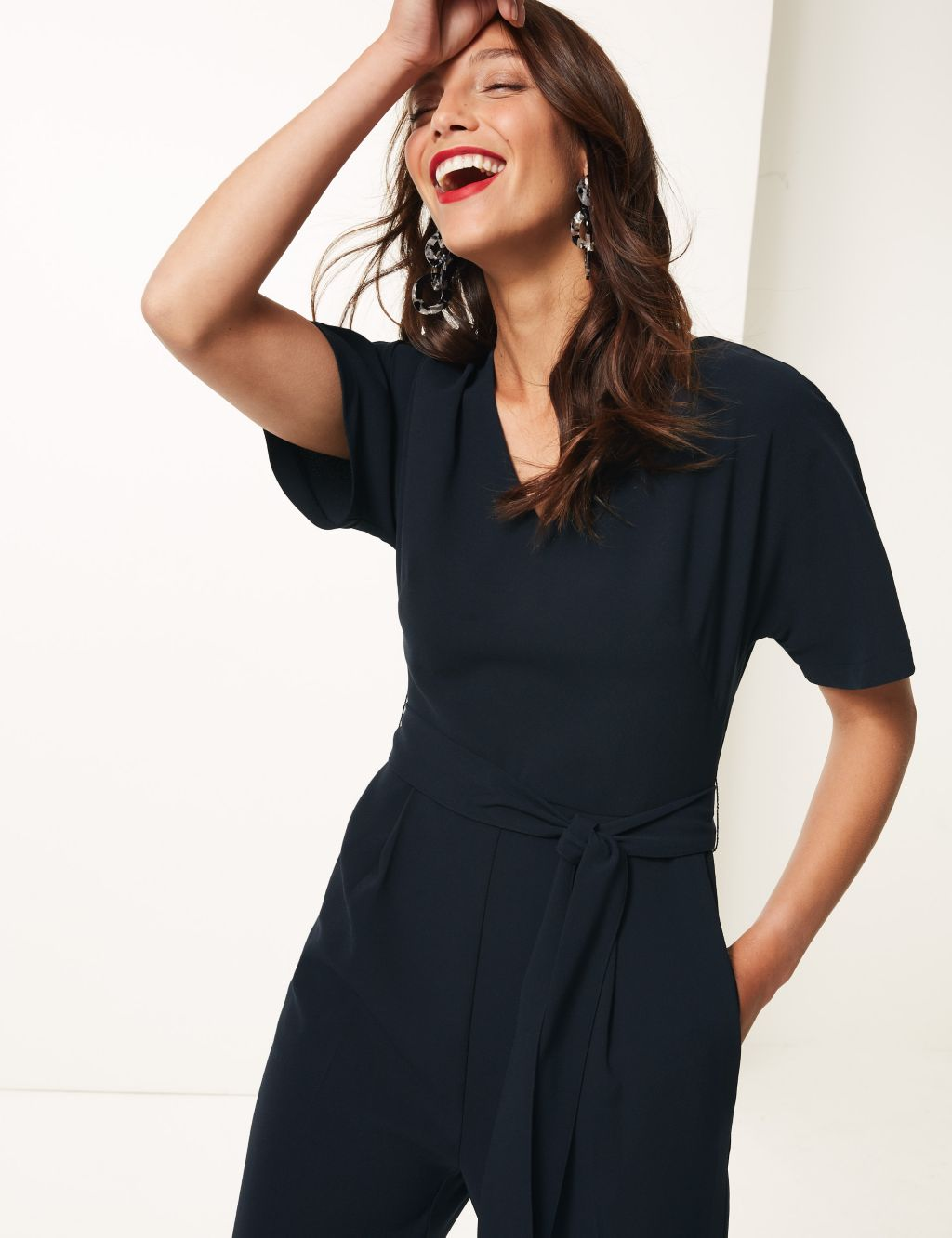 m&s v-neck short sleeve jumpsuit navy £45