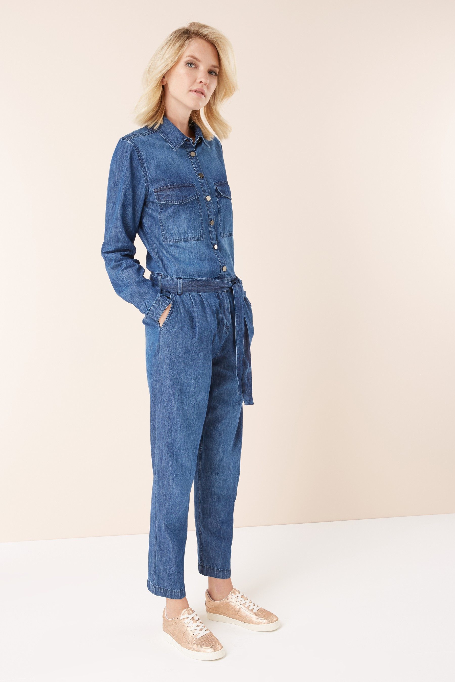 next denim long sleeve jumpsuit £52