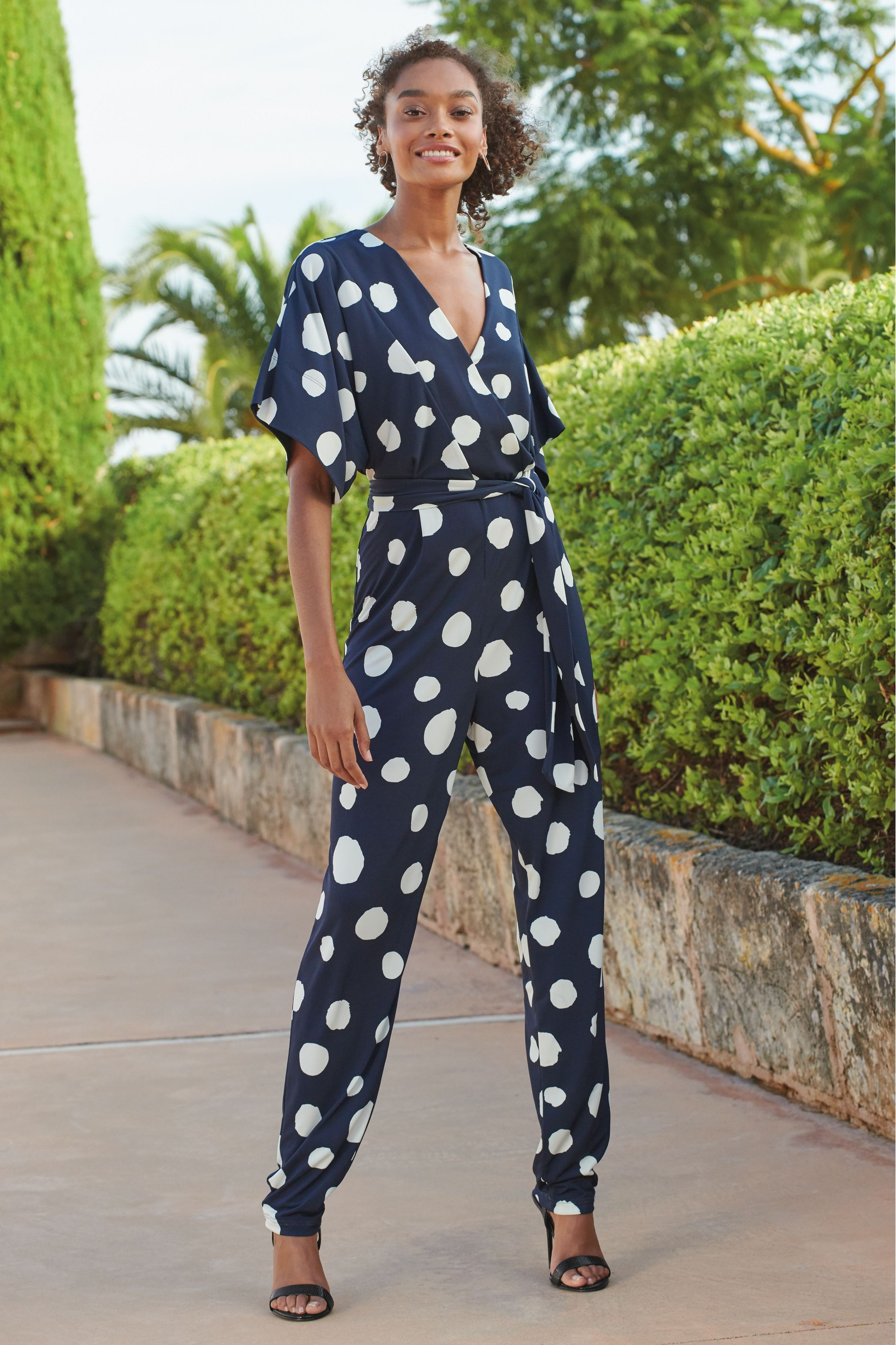 next navy spot kimono sleeve jumpsuit £58
