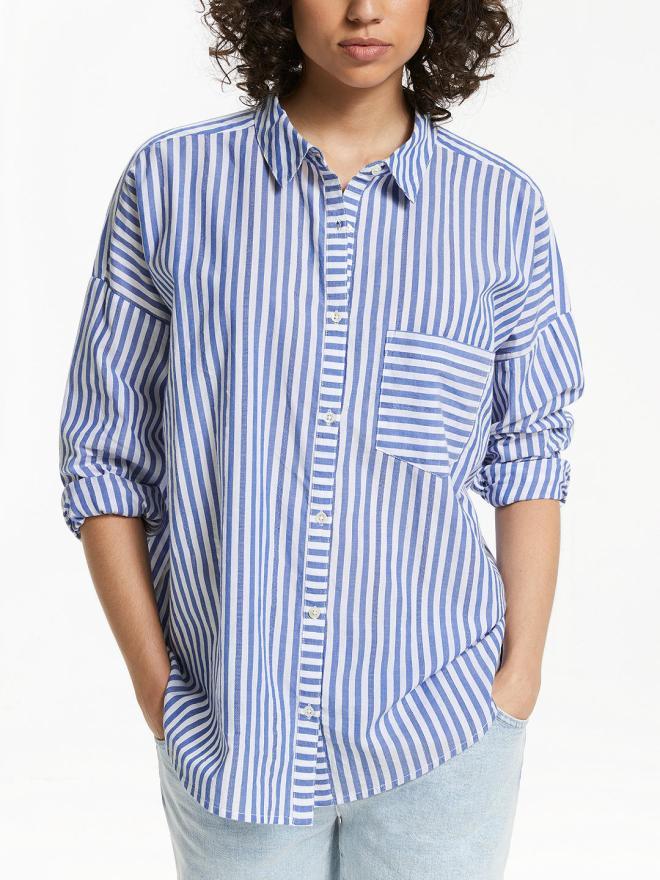 And/Or Poppy Stripe Shirt Blue&Ivory £55