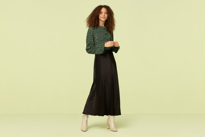 finery alberte black satin midi skirt £59
