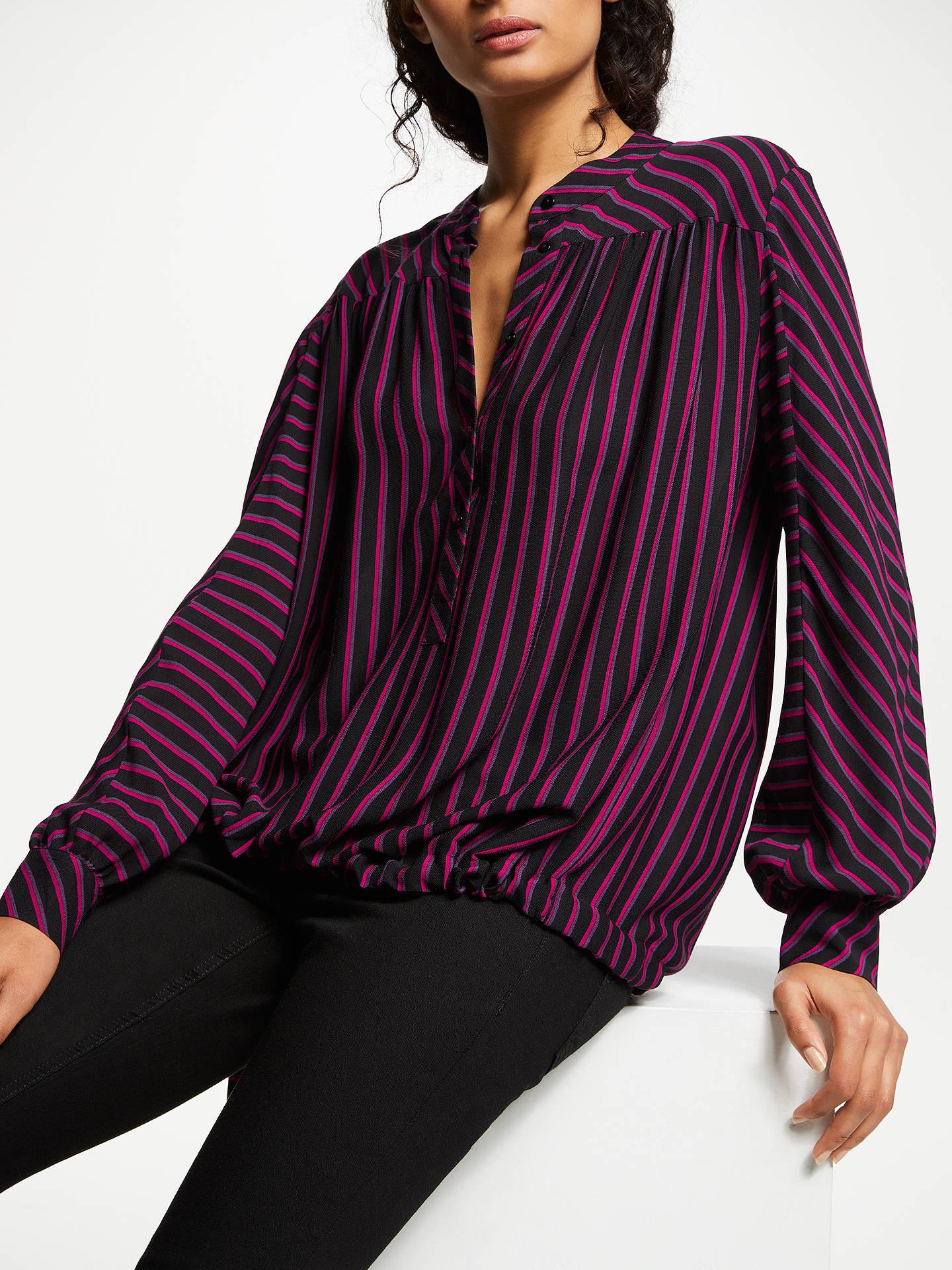 John Lewis & Partners AndOr Rosetta Blouse black&pink stripe £59