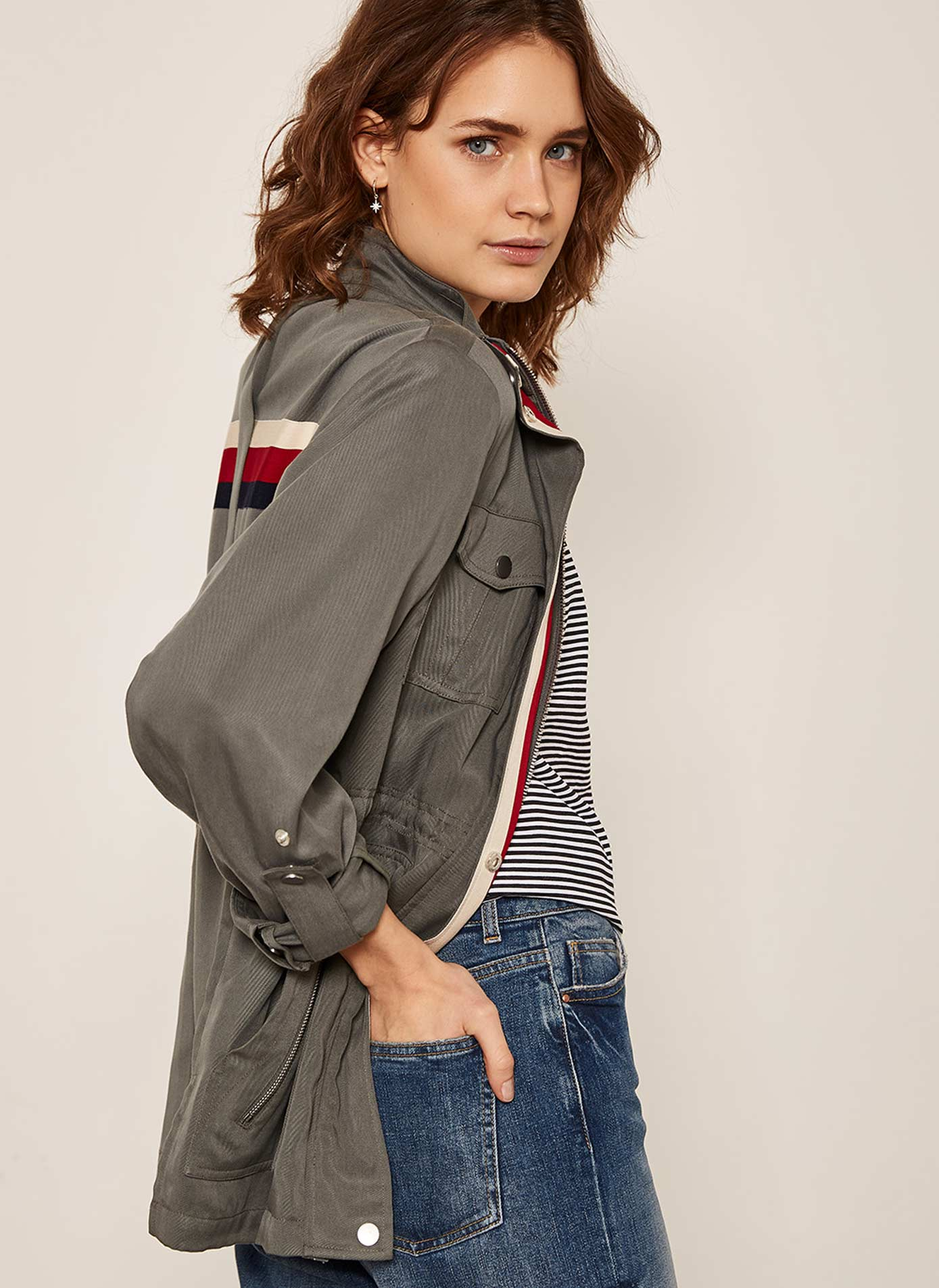 Mint Velvet Khaki Striped 4 pocket Jacket £129