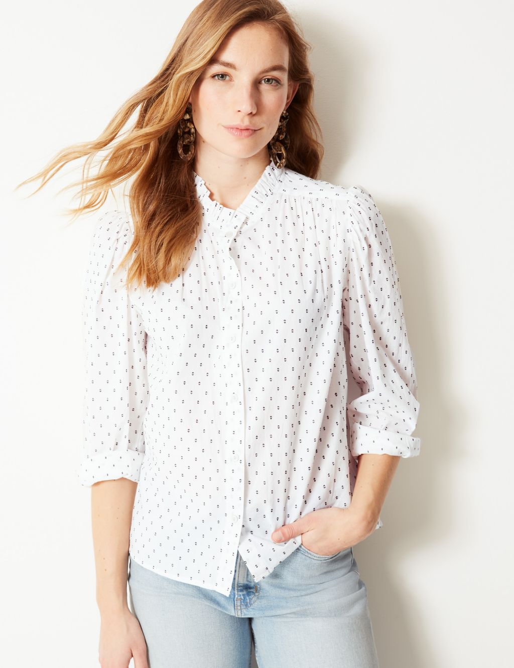 M&S Printed High Neck Long Sleeve Blouse £25