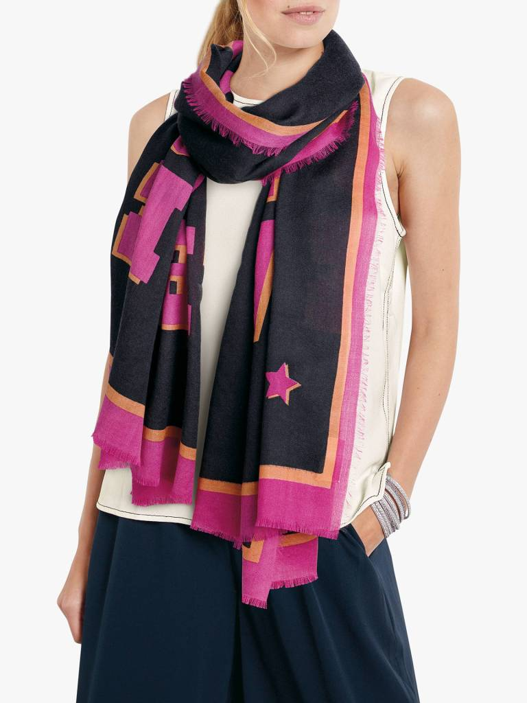 hush Nena Love Wool Scarf in Black & Pink £30
