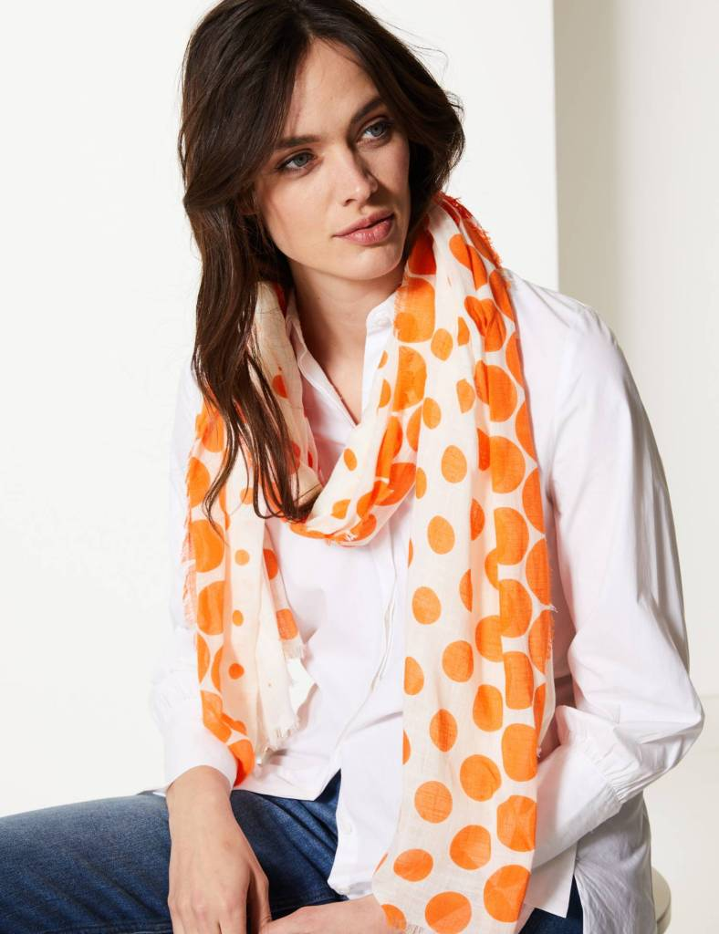 M&S Pure Cotton Polka Dot Scarf £19.50