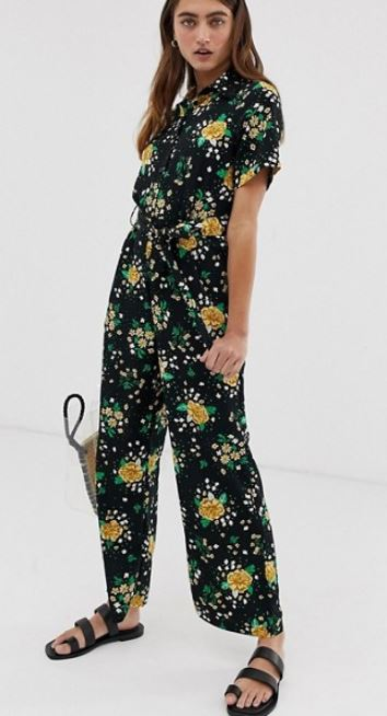 Monki floral print tie waist jumpsuit in black £35
