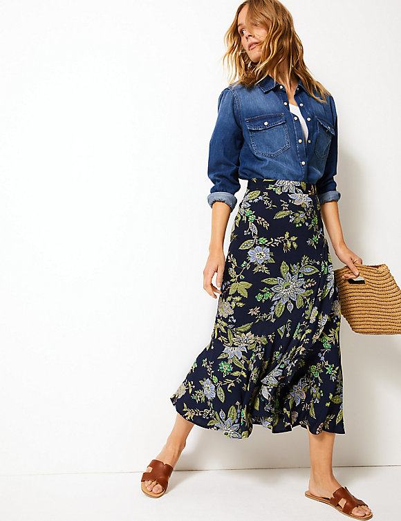 M&S Floral Print Pretty Ruffle Midi Skirt £35