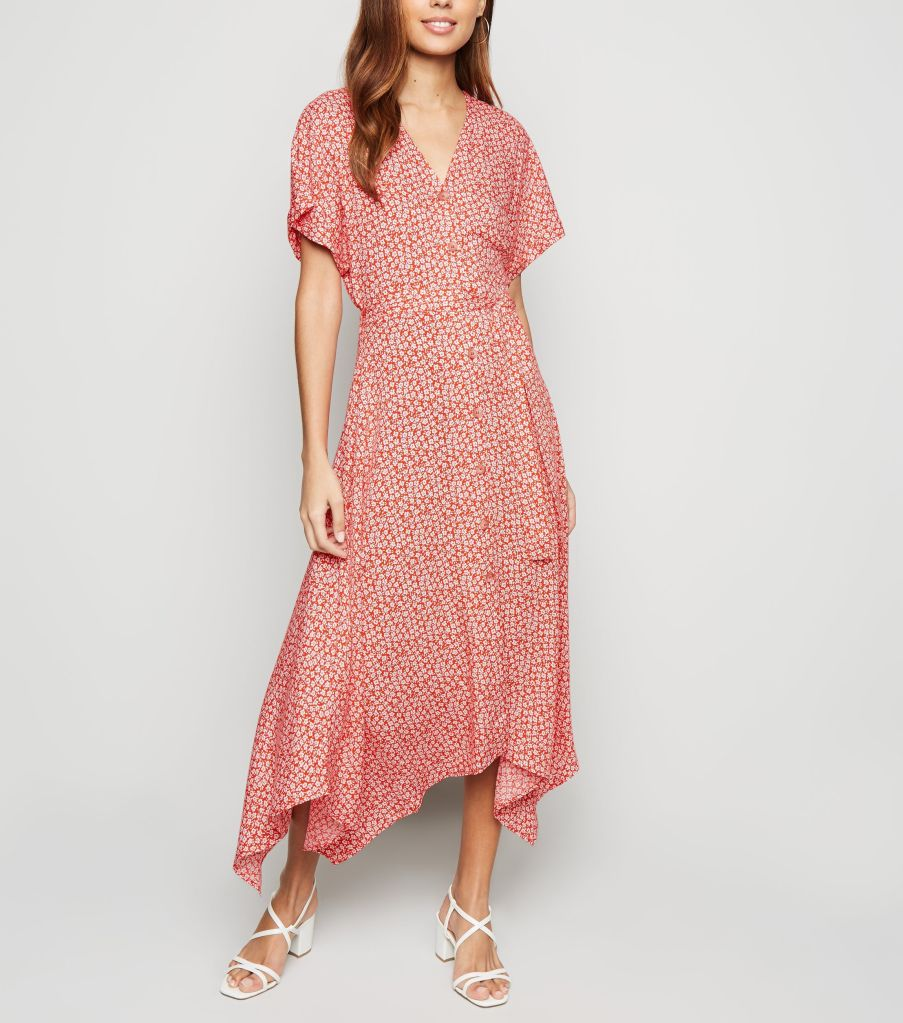 New Look Red Ditsy Floral Button up Midi dress £27.99