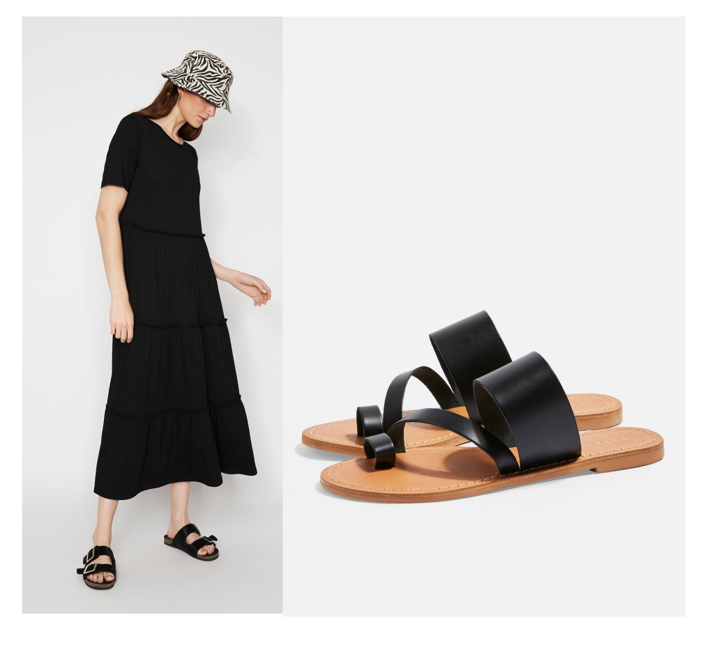 Warehouse black dress & Topshop Black flat sandals