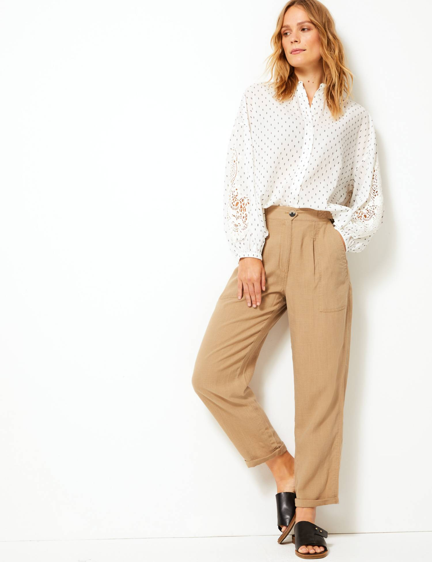 M&S Linen Blend Ankle Grazer Peg Trousers £35