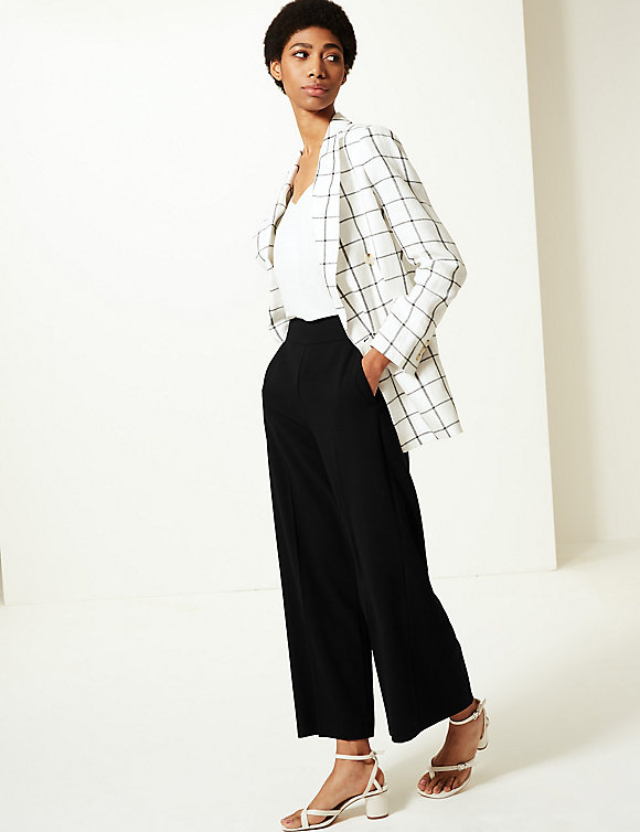 M&S Wide Leg Ankle Grazer Trousers £25