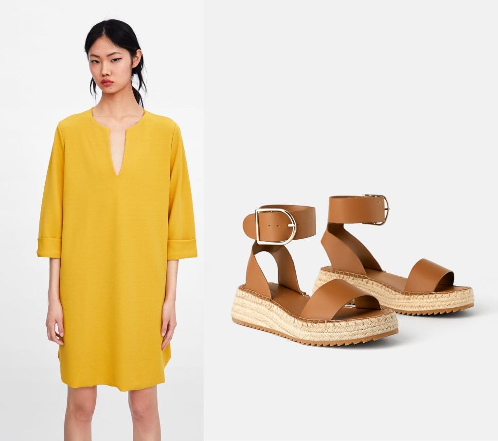 Zara dress & Mini wedges