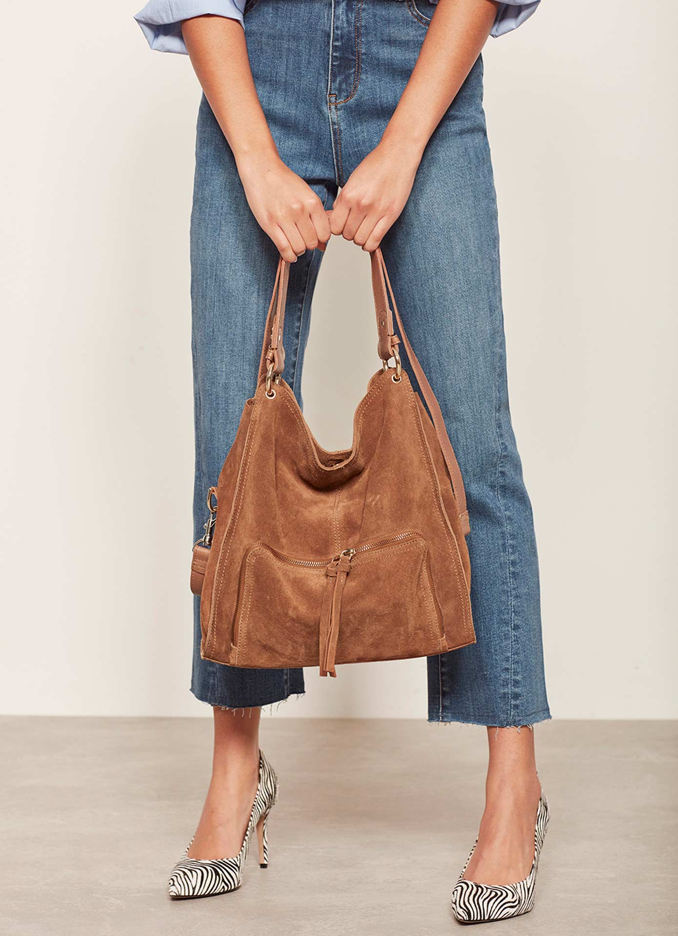Mint Velvet Nelly Tan Suede Slouch tote £139
