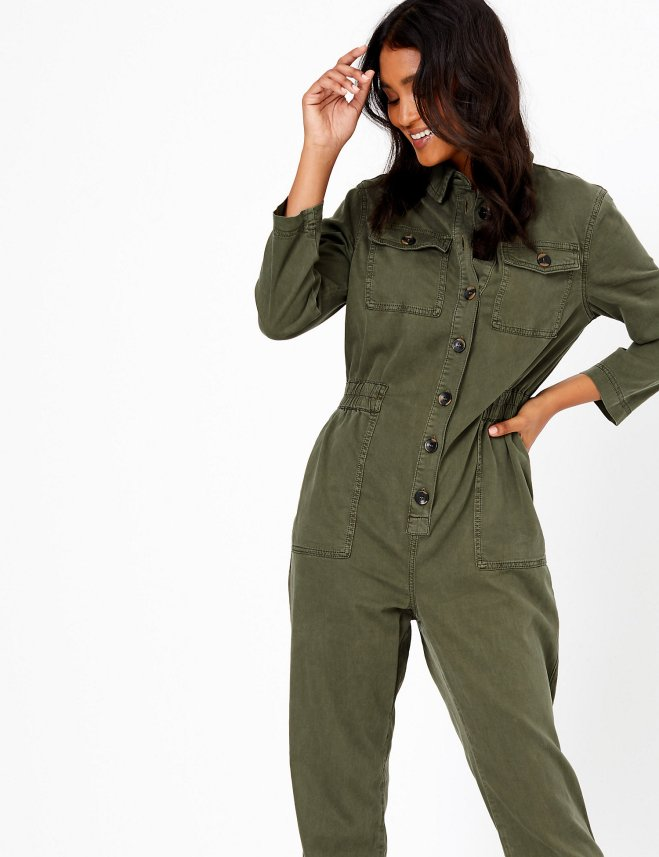 M&S Cotton Blend Utility Waisted Jumpsuit £69