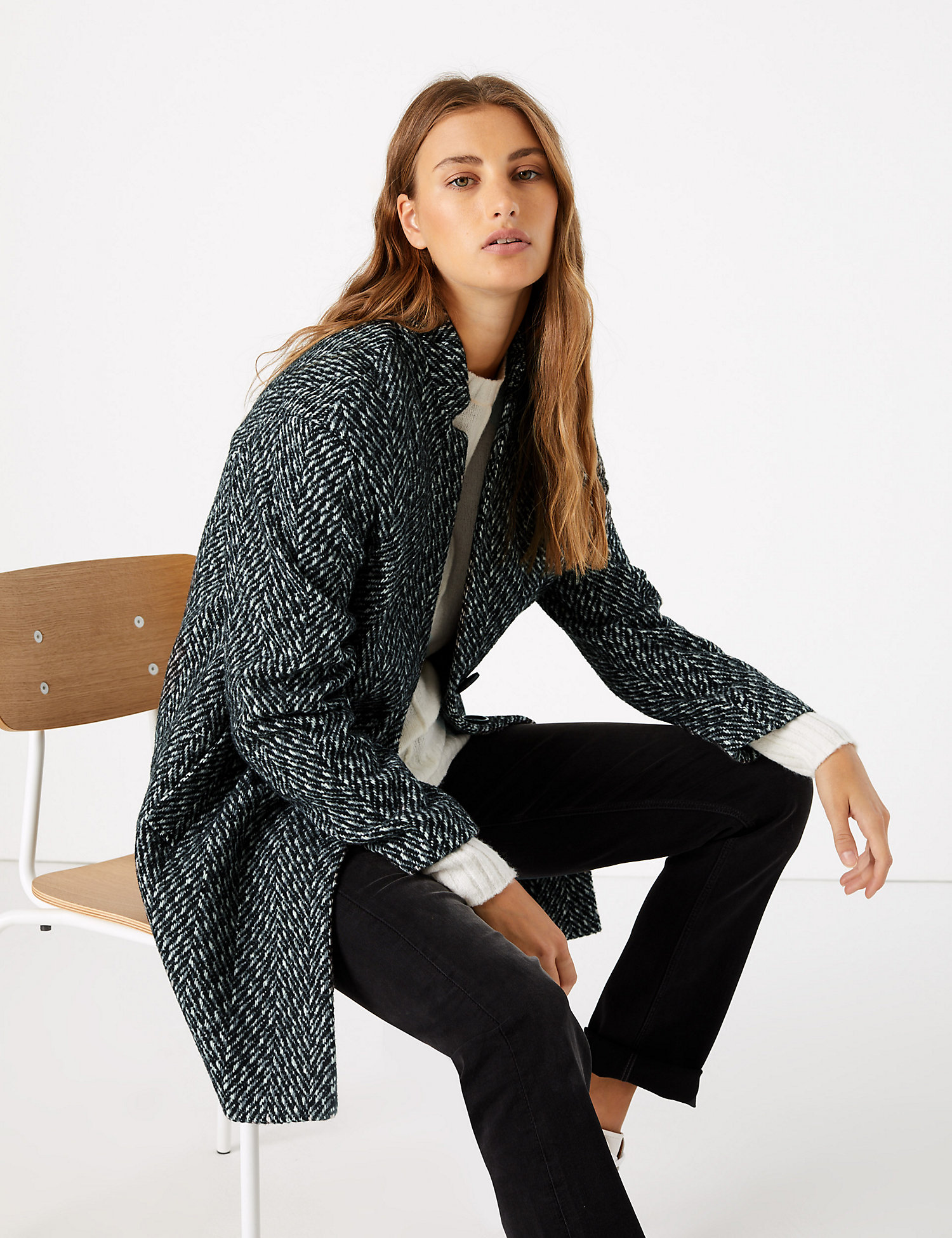M&S Herringbone Cocoon Coat £65