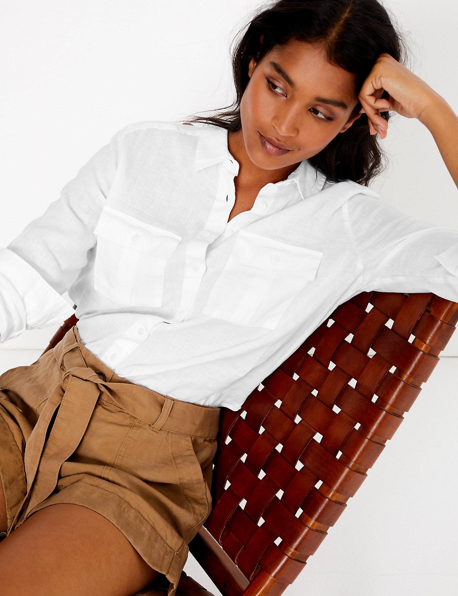 M&S Linen Pure Linen Utility Shirt £29.50