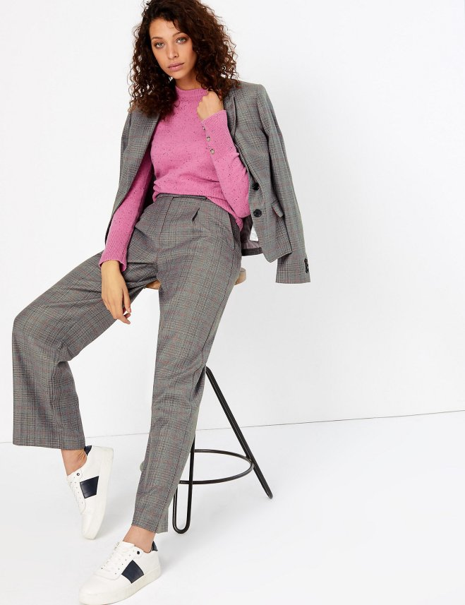 M&S Wool Blend Checked Wide Leg Trousers £59
