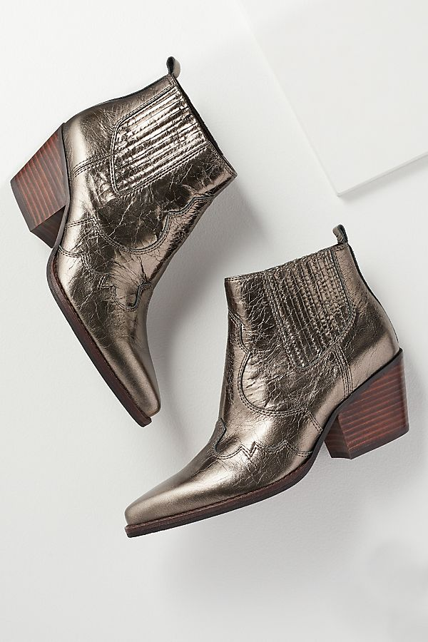 Anthropologie Winona Metallic Leather Ankle Boots £160