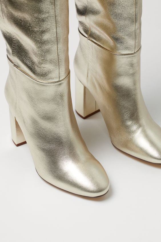 H&M Shimmering leather boots £99.99