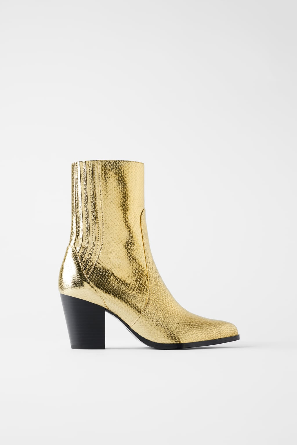 Zara Metallic Animal Print Heeled Ankle Boots £59.99