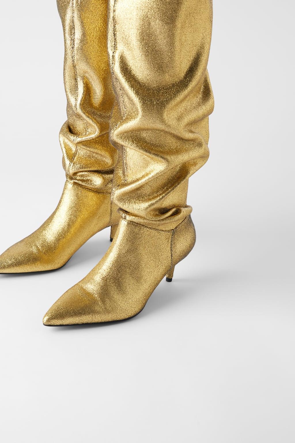 Zara Metallic Kitten heel Boots £69.99
