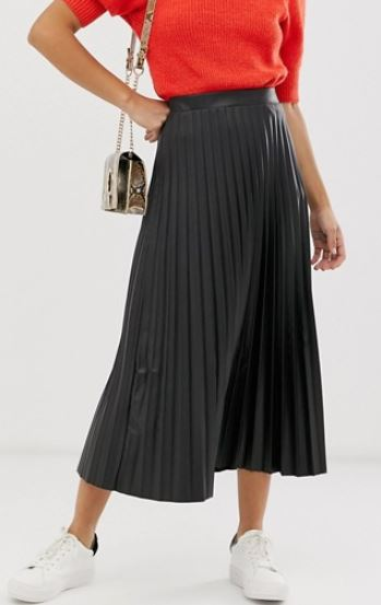 ASOS DESIGN leather look pleated midi skirt £30.00