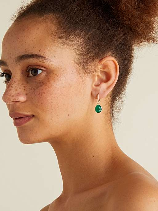 Oliver Bonas Darcia Green Onyx & Gold Plated Huggue Drop earrings £26